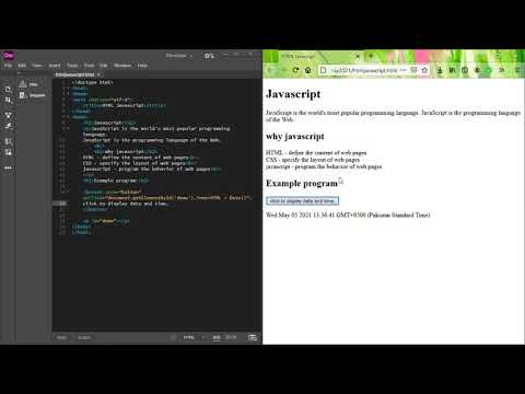 Web Design and Development | Lecture 05 May 2021 Lab | Session 01 | Intro | Javascript [Video]