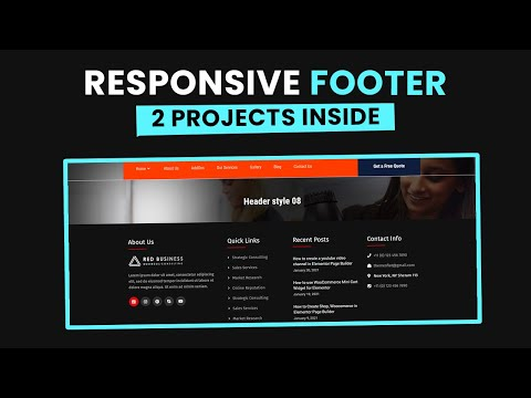 Build Responsive HTML CSS Footer Design – 2 Responsive Footer inside [Video]