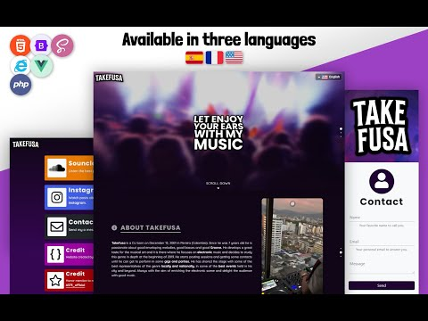 Takefusa – Music Portfolio for DJs with Bootstrap HTML Website Template by Niheba [Video]